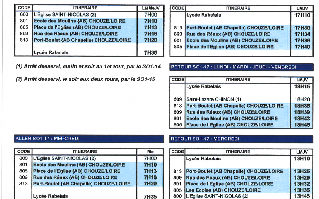 Horaires Transport scolaire CHINON